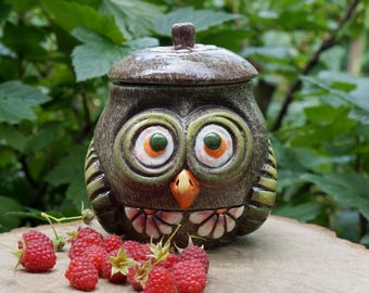 Birthday gift for mother Thank you gift for hostess Ceramic sugar bowl Owl Forest pottery container Rustic canister Ceramic jar with lid