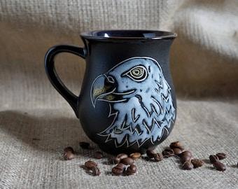 American bald eagle mug ceramic Eagle scout gift ideas|for|boyfriend Tribal eagle mug Philadelphia eagles mug stoneware pottery mug painting