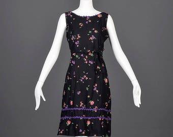 SALE Large 1960s Day Dress 60s Sleeveless Black Floral Dress Casual Summer Dress Day Dress Cotton Dress Mid Century Shift Vintage Dress