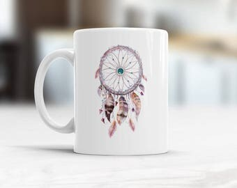 Boho mug, Dreamcatcher Mug, Bohemian kitchen decor, Dreamcatcher Coffee Mug, Boho coffee Mug, Boho Kitchen Tribal Decor Bohemian Gift