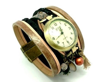 Cuff watch hand made by LesBijouxdeKarine leather/faux