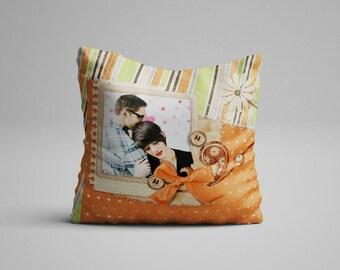 Retro Look Pillow With Photo Vintage Style Photo Pillow Orange Green Striped Polka Dot Photo On Pillow With Photo Pillow Throw Photo Cushion