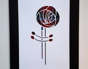 Charles Rennie MacKintosh Rose Thin Tartan Picture - Scottish Gift Art - Choose Your Tartan