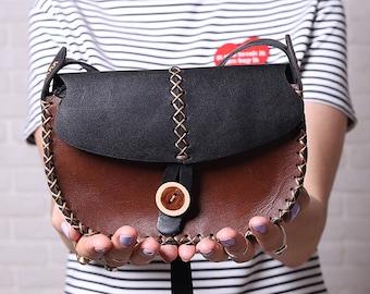 Leather Crossbody Bag Woman FREE Personalized/leather shoulder bag/leather handbag/messenger bag/brown leather bag/Gift for Her/Womans Gift