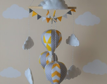 Hot air balloon baby mobile bunting grey polka yellow chevron triangle Ready to ship