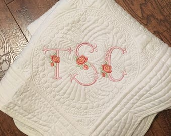 Heirloom baby gift etsy monogrammed baby quilt heirloom baby gift baby shower gift baby gift personalized negle Image collections