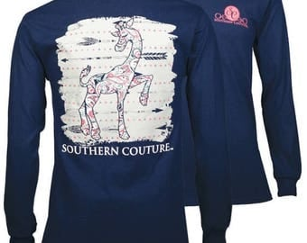 Youth Size - SC Classic Gigi Giraffe on Long Sleeve - Navy.....You may choose to have this personalized by getting your shirt Monogrammed.