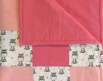Pink Zebra Patchwork Blanket