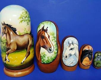 Vintage Wooden  Matryoshka Russian Nesting Dolls - Horses - Set of Five - Hand Painted