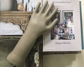 Vintage Glove Mold, Ceramic Hand, Display Hand, Industrial Factory Glove Form, 1960's