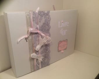 Pearl gray and powder pink romantic wedding guestbook