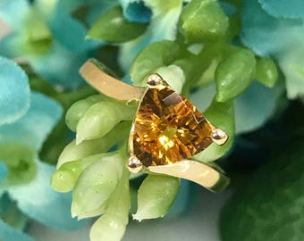 Trillion Cut Citrine Solitaire Fashion Ring in 14K Yellow Gold #1676