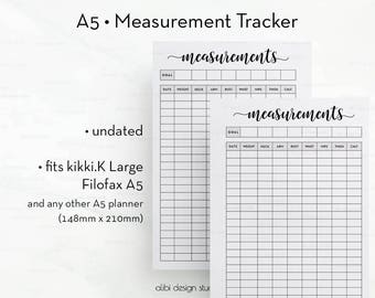Measurement Tracker, A5 Planner Inserts, Fitness Planner, Printable Planner, Health Tracker, Weight loss chart, Fitness Journal