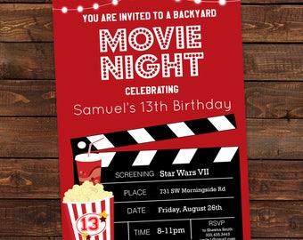 Movie Night Birthday Party Invitation   Film Invitation Popcorn For Boys    Red Black Movie Editable