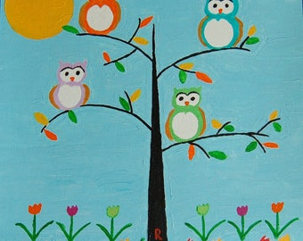 """Owls - 12"""" X 12"""" Acrylic on Canvas Painting by Rory Doyle - an artist with autism"""