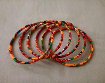 6- Set Ankara/Kente Design Stackable Bracelets, ankara bracelets, kente bracelets, stackable bracelets