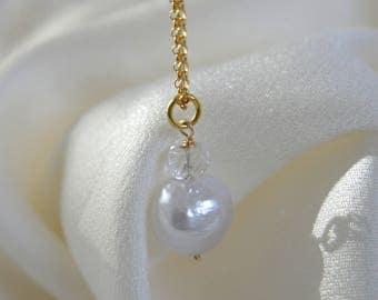 Kasumi like folding pearl aquamarine pendant with chain Kasumi like wrinkles pearl Aqua Marine pendant with chain