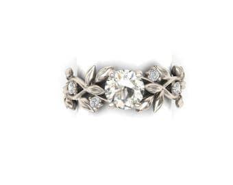 Leaf Engagement ring, White Gold 14k, White Sapphire Center stone, Nature inspired Leaf Ring, Engagement Ring,RI-1237-WS.