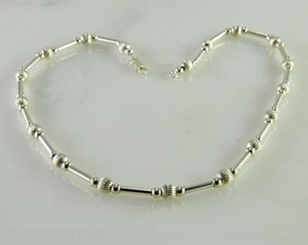 """Milor Italy Ball and Link Sterling Silver Necklace 16"""""""