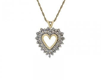 0.75 Carat Round Cut Diamond Heart Shape Necklace 14K Yellow Gold