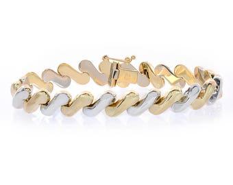 9.7mm 14K Two Tone Gold Fancy Wave Link Bracelet