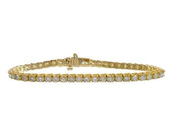 6.15 Carat Round Cut Diamond Tennis Bracelet 18K Yellow Gold Over 14K Yellow Gold