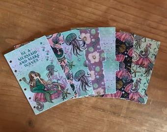 Mermaid planner dividers / personal planner / A5 planner / planner supplies / planner accessories / dashboard / pocket planner