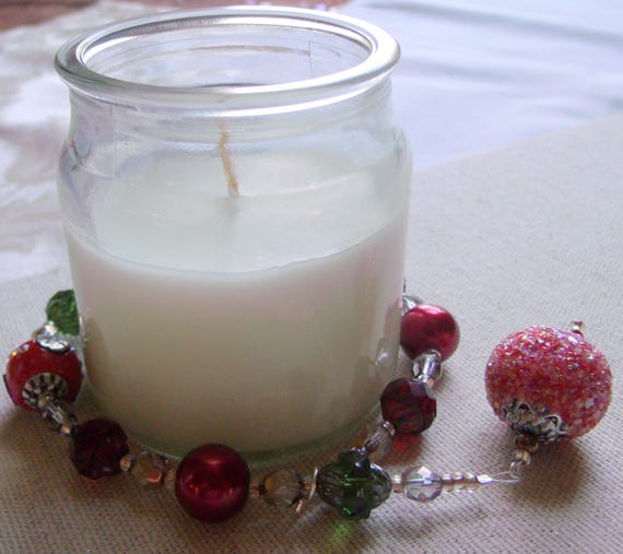 Red candle garland - christmas holiday gift  - fire and ice - ring bling - table decor ideas - pillar - tin - crystal green - jar beads