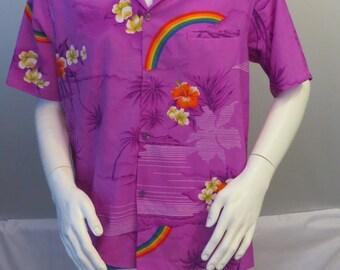 Vintage Hawaiian Aloha Shirt - Rainbows and Flower Print by Helena's - Men's LRG