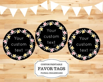 Custom favor tags, printable favor tag, wedding favor tag, baby shower tag, personalized tags, thank you tag, chalkboard birthday party tag