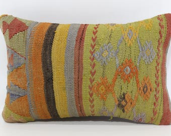 12x20 Decorative Kilim Pillow Floor Pillow Sofa Pillow 12x20 Naturel Kilim Pillow Turkish Kilim Pillow Cushion Cover SP3050-1031