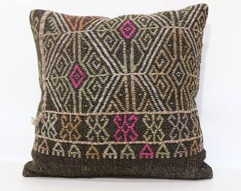 20x20 Turkish Kilim Pillow Sofa Pillow 20x20 Embroidered Kilim Pillow Throw Pillow Handwoven Kilim Pillow Cushion Cover SP5050-1814