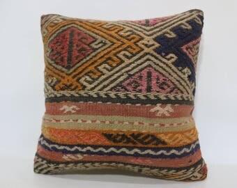 20x20 Naturel Kilim Pillow Sofa Pillow 20x20 Handwoven Kilim Pillow Ethnic Pillow Fllor Kilim Pillow Decorative Kilim Pillow  SP5050-2062