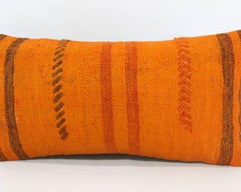 12x24 Orange Turkish Kilim Pillow Sofa Pillow Floor Pillow 12x24 Anatolian Kilim Pillow Decorative Kilim Pillow Cushion Cover SP3060-1145