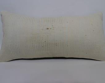 12x24 White Kilim Pillow Sofa Pillow Throw Pillow Naturel Kilim Pillow 12x24 Handwoven Kilim Pillow Ethnic Pillow Cushion Cover SP3060-1317