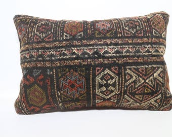 Turkish Kilim Pillow 16x24 Bohemian Kilim Pillow Embroidered Multicolor Kilim Pillow Decorative Kilim Pillow Lumbar Pillow  SP4060-825