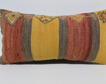 12x24 embroidered kilim pillow  12x24  turkey kilim pillow  decorative pillow throw pillow handwoven kilim pillow cushion cover  SP3060-1601
