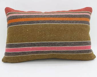 16x24 Pillows Striped Kilim Pillow Multicolor Kilim Pillow 16x24 Pillows Brown Pillow Throw Pillow Boho Pillow Sofa Pillow   SP4060-1442