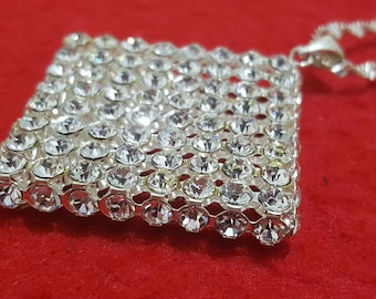 Necklace chain twisted with square rhinestone Crystal cut pendant