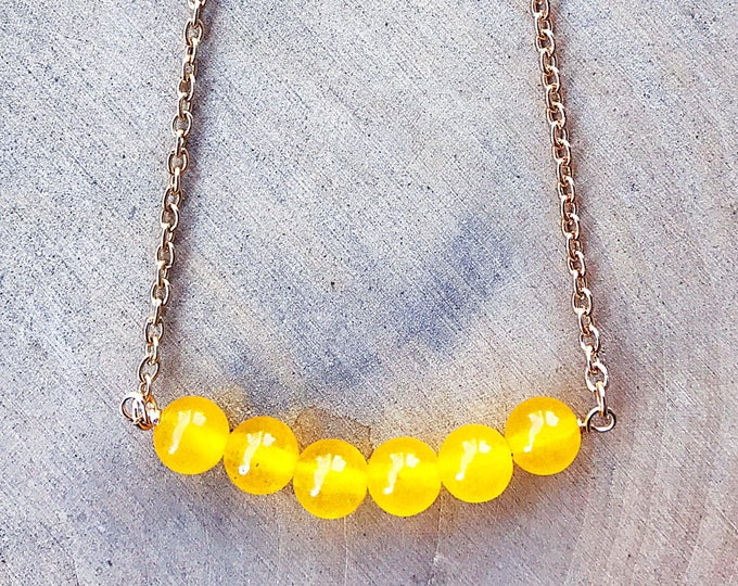 Yellow Jade Stone Necklace, Healing Crystal Jewelry, Gemstone Bead, Gold Pendant, Bohemian, Gifts For Her, Bridesmaid Gift, Cable Chain