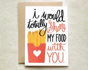 Share My Food Love Card, Funny Valentine's Card, Valentine's Day Card, Love Card