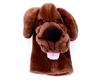 Vintage WRINKLES Dog Face Hand Puppet Brown Puppy Plush Stuffed Toy Retro 1981 Heritage Collection Original 80s Plushie 1980s Classic Toys