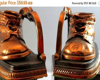ON SALE NOW Antique Bronze Copper Baby Shoe Bootie Bookends