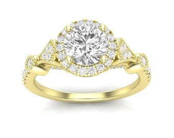 14k Vintage Halo Engagement Ring Yellow Gold Ring Delicate Ring Vintage Ring Forever One Colorless Halo Ring for Her Moissanite Forever One