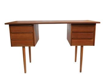 "Danish Minimalist 6 Drawer Teak Desk - ""Vilfred"""
