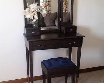 "Elegant Empress ""Black and Copper"" Oak Makeup Vanity Table"