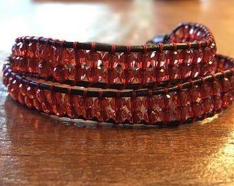 Boho Beads Bracelet dark red
