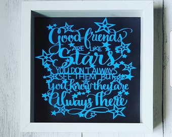 Friends are like stars box frame, friends gift, friend quote, friends birthday present, best friends gift, friends are like stars gift