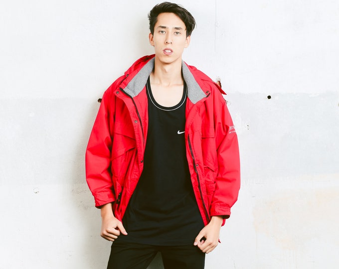 Vintage Red Ski Jacket . Men's 90s Parka Jacket Oversized Ski Coat Hooded Winter Jacket Zip Up Hooded Coat Boyfriend Wear . size Medium M