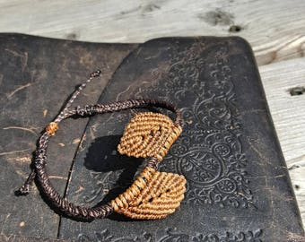 Braided Leaf Bracelet (Borwn & Copper)